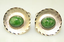 VINTAGE STERLING SILVER JADE TEXTURED FINISH ROUND CUFFLINKS SCALLOPED EDGE