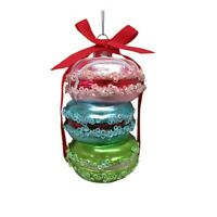 Macaroon Stack Glass Christmas Tree Ornament 3 X 4.5 Inches New