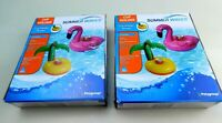 Lot of 2 Pool Cup Can Holder Palm Tree Float Fun Colorful Summer Party (Flamingo