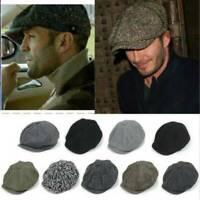 Mens Newsboy Hat Peaky Blinders Herringbone Gatsby Baker Cabbie Ivy Flat Cap Hat