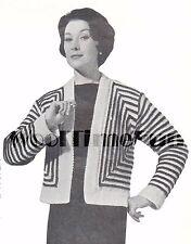Vintage Knitting Pattern Lady's 1950s Square Striped Jacket/Cardigan.