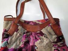 Vintage Lucky Brand Slouch Purse / Hobo Bag Cotton Velveteen & Leather