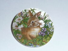 """Cute Brown Bunny Rabbit In Flowers on MOP Mother of Pearl Shank Button 1+3/8"""""""