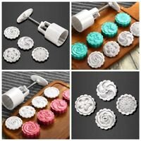 1 Set Round Moon Cake Mold Pastry Mooncake Mould Flower Stamps Baking Tools HOT