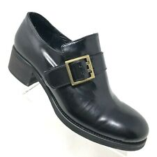 Eden Italy Black Patent Leather Chunky Heel Loafer Punk Retro Womens Size 6 / 37