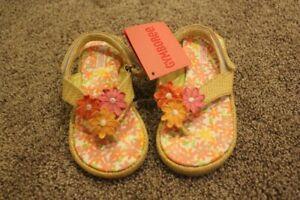 Gymboree Freshly Picked Straw Flower Sandals Summer Toddler Girls Size 8 3T NWT