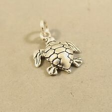 .925 Sterling Silver SEA TURTLE CHARM NEW Pendant Nautical Ocean 925 NT113