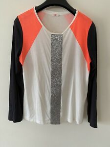 """Sass & Bide """" Sing Brother"""" Long Sleeve Silver Glitter Tee Size ?L"""
