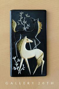 Epic! Mittel Jahrhundert Japan Pferd Keramik Wandkunst Skulptur! Vtg 50S Hengste