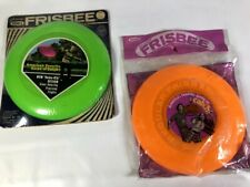 "Vintage Genuine WHAM-O Frisbee #132 9"" 1973 Orange 1970 Green Made USA Lot of 2"