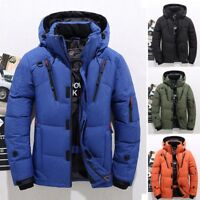 Mens Winter Warm Duck Down Jacket Ski Snow Hooded Coat Climbing Outwear Overcoat