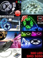 Striscia LED COLORATA RGB 5M SMD5050 IMPERMEABILE CON ALIMENTATORE E TELECOMANDO