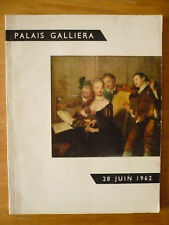 Catalogue de la vente aux enchères au Palais Galliera le 28 juin 1962