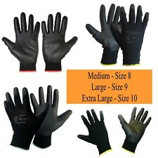 6 Pairs Nylon PU Coated Safety Work Gloves Gardening Builders Mechanic Grip