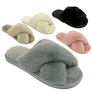 Ladies Faux Fur Slippers Womens Furry Fluffy Mules Slides Sizes UK 3 4 5 6 7 8