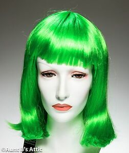 Wig Bright Green Shoulder Length Synthetic Hair Mardi Gras Cos Play Costume Wig