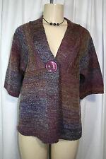 New DressBarn Purple Blue Wool Blend Big Button Cardigan Sweater Sz Petite M PM