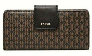 NWT Fossil Madison slim clutch Vegan Leather wallet Black Brown multi