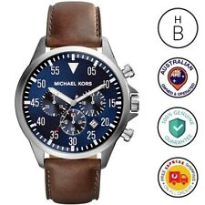 New Michael Kors Mens Watch Gage Silver Steel Blue Dial Brown Leather MK8362