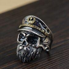 925 STERLING SILVER  SKULL captain BIKER MEN'S PUNK RING RINGS ALL SIZE S1643