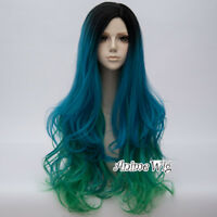 Gothic Lolita 75cm Long Curly Mixed Black Blue Green Lady Cosplay Wig+Wig Cap