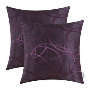 2Pcs Deep Purple Pillows Covers Shell Case Striped Circle Sofa Car Decor 40x40cm