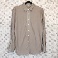 Foxcroft 14 Shirt Top Brown White Striped Wrinkle Free Shaped Fit Button Down