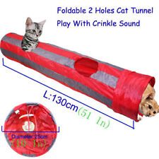 130cm Pet Cat Kitten Tunnel Collapsible 2 Holes With Ball Foldable Play Fun Toy