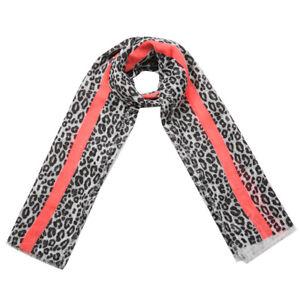 New Trendy Large  Black Leopard Animal Print  Stripe Long  Scarf Shawl