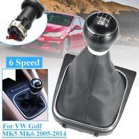 6 Speed Manual Gear Shifter Knob W/ Boot Cover For VW Golf Jetta MK5 MK6 05-14