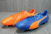 55 New Puma Mens EvoSpeed SL H2H FG Orange Blue Soccer Cleats 103725 01 10.5