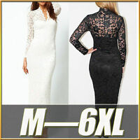Sexy Oversize Lace Wedding Cocktail Party Formal Evening Maxi Dress Plus Size