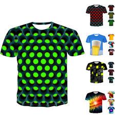 Verano Hombre 3D Estampado Geométrico Camiseta Manga Corta Casual Tops 2019