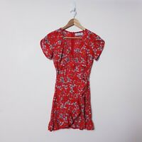Ache Size 6 Red Floral Ruffle Fit and Semi Flare Dress Tie Up Waist