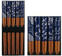 Set of 5 Pair Bamboo Chopsticks Blue Japanese Print S-3649