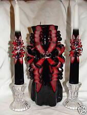 CUSTOM BLACK & RED HAND CARVED UNITY CANDLE WEDDING SET