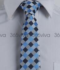 Blue Gray Checker Men Skinny Slim Narrow Woven Silk 6.5 cm Necktie Wedding Tie