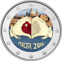 2 Euro Gedenkmünze Malta 2016 Liebe  coloriert / mit Farbe / Farbmünze