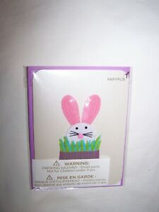 Papyrus Easter Greeting Card & Envelope; White Bunny, Pink Ears in Grass