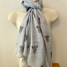More details for border terrier dog print ladies scarf new design shawl terrier gift