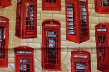 Red telephone box fabric with Beige stone background
