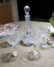 Handmade Block 24% Lead Crystal Wine Decanter w/Stopper and 4 Wine Glasses  NIB