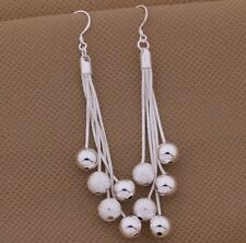 925 Sterling Silver Beads Drop Dangle Pierced Earrings Fashion Women's Jewelry