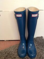 HUNTER WOMENS BLUE WELLINGTON BOOTS UK4/37