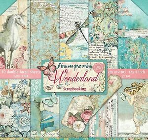 WONDERLAND Collection PAPER CRAFTING 12x12 Inch Paper Pack STAMPERIA SBBL38 New