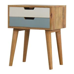Blue and White Bedside 2 Drawers Solid Wood H57 x W45 x D35 cm
