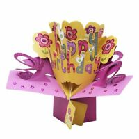 3D Happy Birthday with Flowers Pop Up Greeting Card Handmade Gift Card for Q1P6