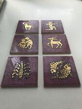 6 Ceramic Art Tiles Mid Century Zodiac  Amphora Perignem Belgium Tieberghien