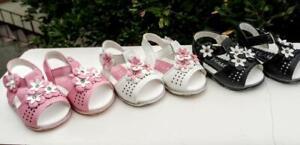 New Lead Light Sandals For Toddler Girls. Black,White,Pink, Many Sizes.