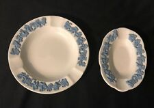 Wedgwood Queens Ware set of 2 Small Ashtrays White Blue Grapevine
